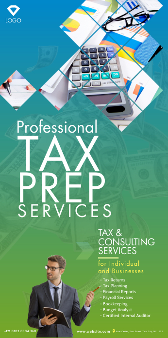 Tax & Consulting Services Roll-Up Banner Spanduk Gulir Atas 3' × 6' template