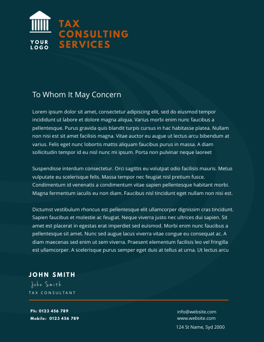 tax consulting service letterhead Flyer (US Letter) template