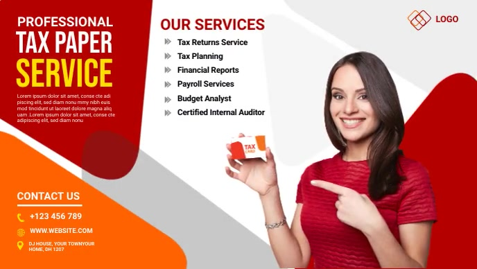 Tax Paper Services Ad YouTube Thumbnail template