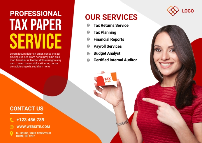 Tax Paper Services Ad Postcard template
