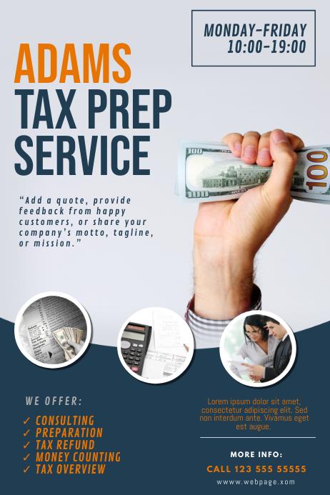 Tax Prep Service Flyer Template Plakat