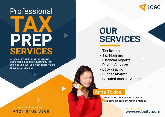 Tax Prep Services Postcard template
