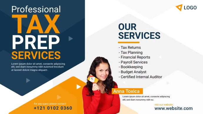 Tax Prep Services Ad Twitter-opslag template
