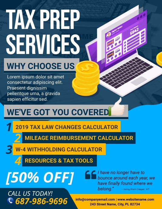 Tax Prep Services Flyer Løbeseddel (US Letter) template