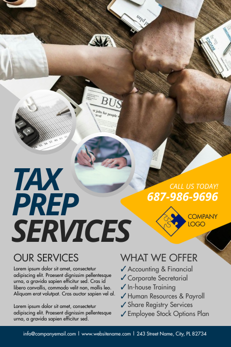 Tax Prep Services Poster Affiche template