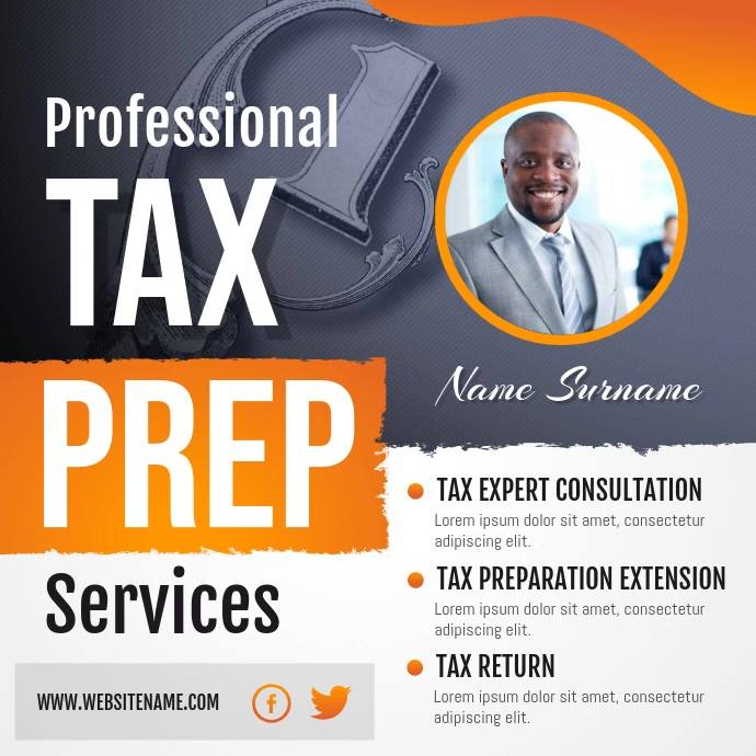 Tax Prep Services Tax Agency Instagram Video Persegi (1:1) template