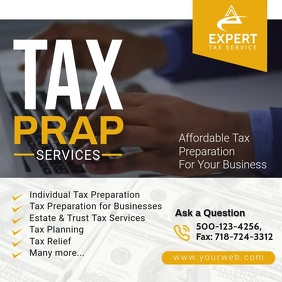 Tax Prep Services Tax Agency Social Media p.. Instagram Post template