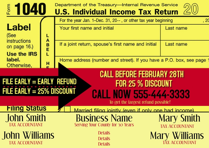 TAX PREPARATION AD POSTCARD Postkort template