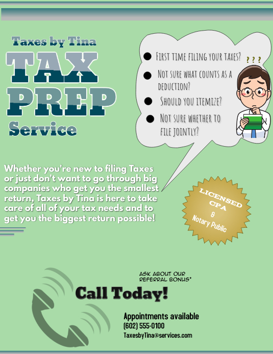 Tax Preparation Template Postermywall