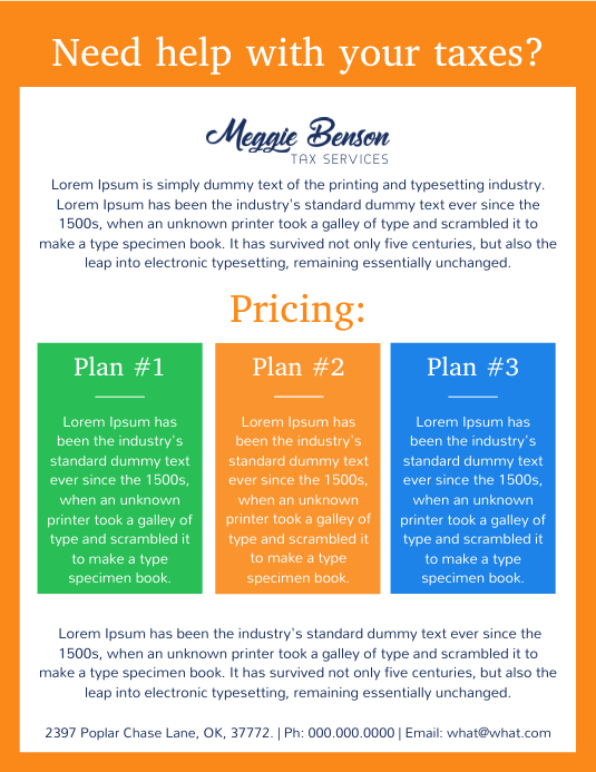 Tax Preparation Help Flyer Template Postermywall