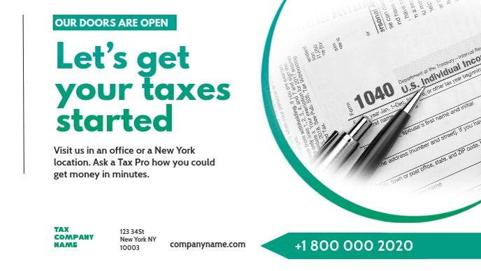 Tax preparation office Advert Banner Facebook 封面视频 (16:9) template