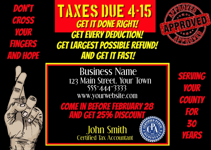 Tax Preparation Postcard