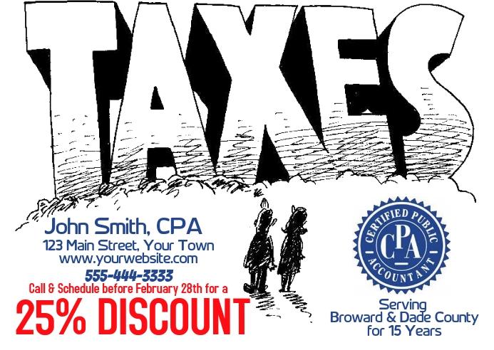 Tax Preparation Service Postcard Briefkaart template