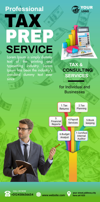 tax service advertising Spanduk Gulir Atas 3' × 6' template