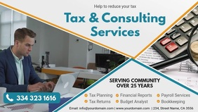 Tax Services and Consultancy Banner Ad Facebook Cover Video (16:9) template