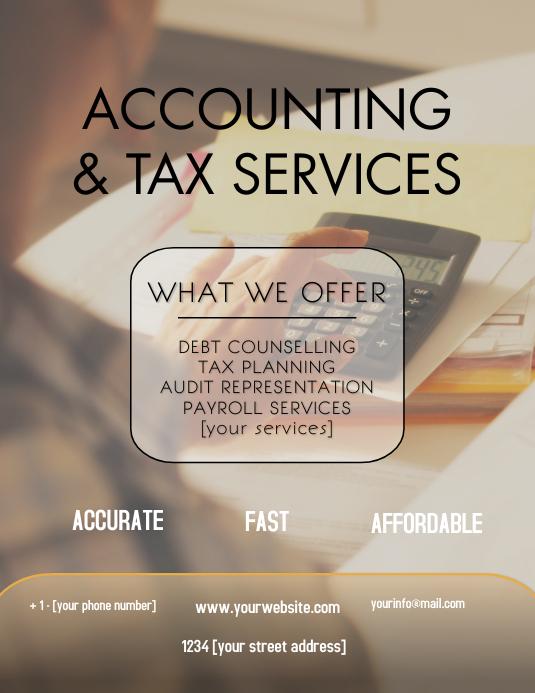 Tax Services 传单(美国信函) template