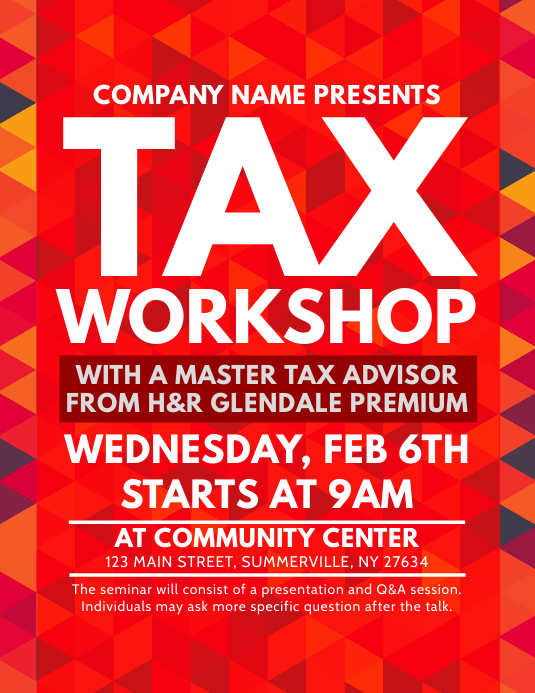 Tax Workshop Flyer Template | PosterMyWall