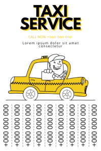 Taxi Service tear off tabs poster template