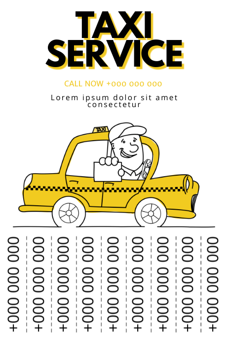 Taxi Service tear off tabs poster template | PosterMyWall