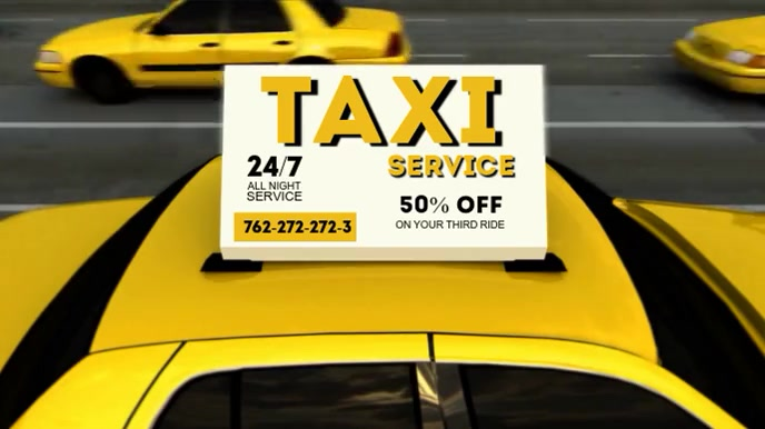 TAXI SERVICE VIDEO AD Pantalla Digital (16:9) template