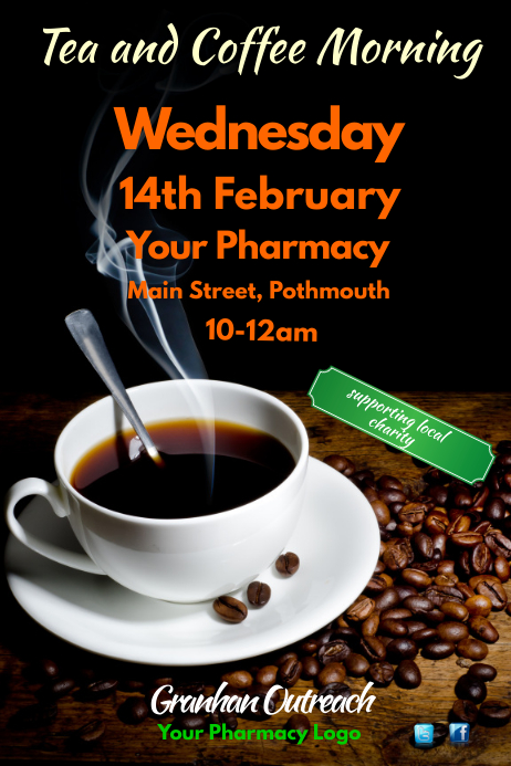 Tea and coffee morning flyer