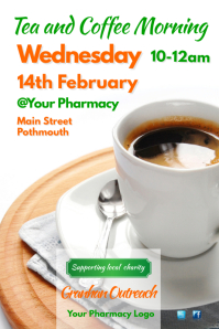 Tea and coffee morning flyer Poster template