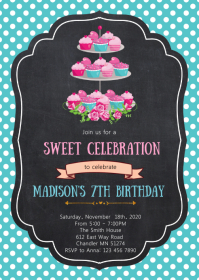 Tea birthday party invitation A6 template