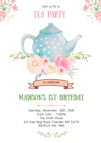 Tea birthday party invitation A6 template