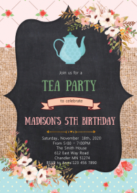 Tea birthday party invitation