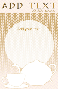 tea kettle and cup - menu or other tabloid template in gold and white