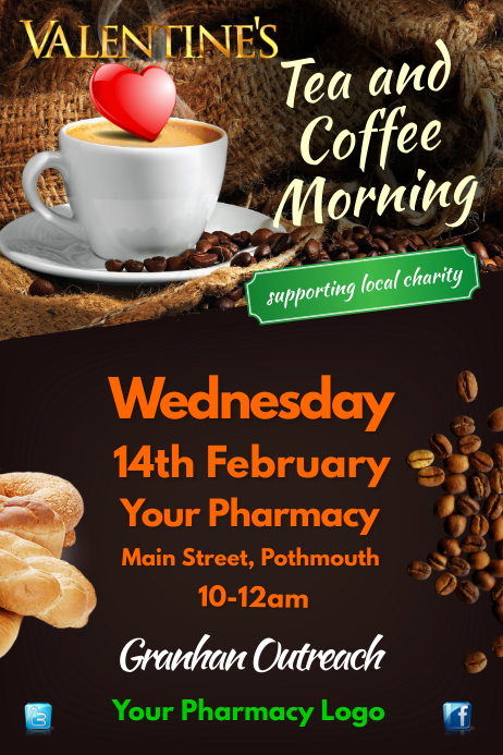 tea and coffee morning flyer template