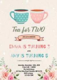 Tea for two birthday invitation