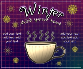 tea or coffee, and decor snowflakes