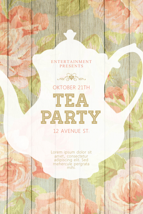 tea party flyer template postermywall