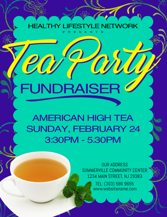tea party fundraiser flyer template postermywall