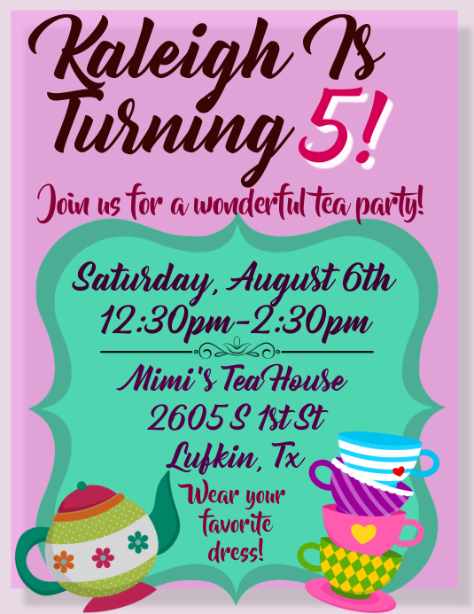 Tea Party Invitation Template Postermywall