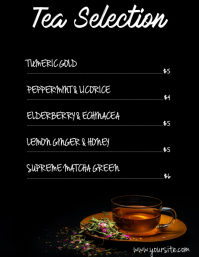 Tea selection menu card
