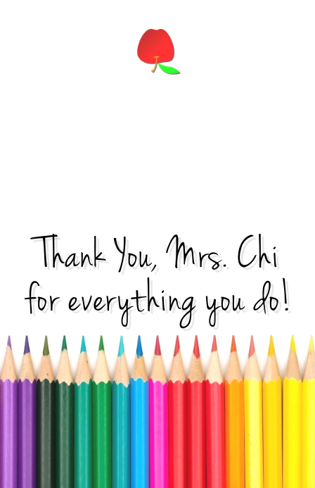 Teacher's Appreciation Card Demi-page de format Wide template