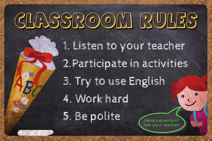 Teacher's Classroom Rules Poster Template Cartaz