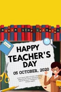 teacher, teacher's day, world teacher's day Cartaz template