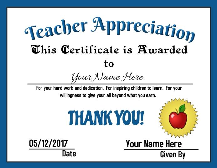 teacher appreciation award template postermywall