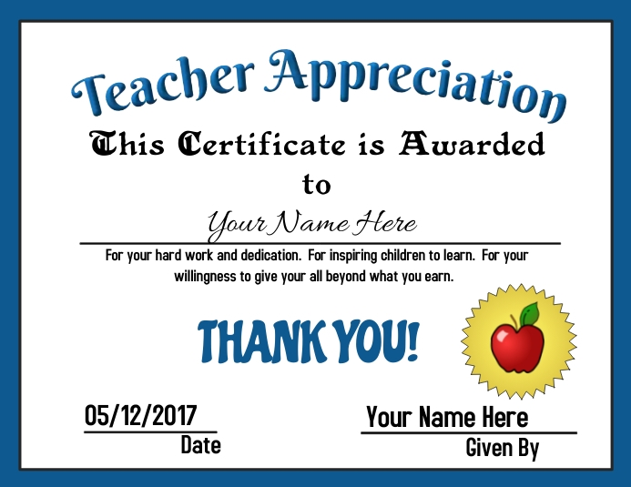 Teacher Appreciation Award ใบปลิว (US Letter) template