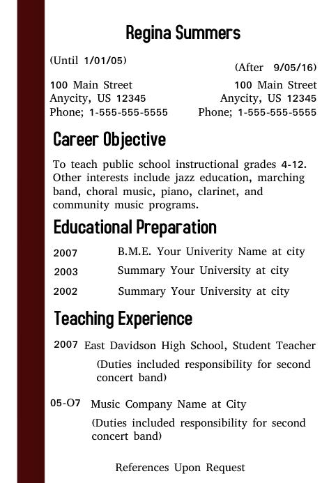 copy of teacher resume template