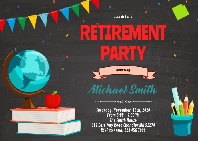 Teacher retirement party invitation A6 template