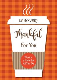 Teacher Thanksgiving Card A4 template
