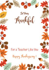 Teacher Thanksgiving Gift Card A4 template