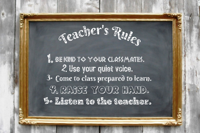 Teacher's Rules Vintage Chalkboard School Wall Event Classroom Decor Poster Cartaz template