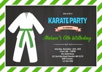 Teakwondo birthday theme invitation A6 template