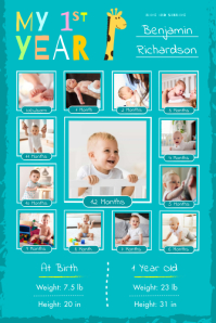 Teal 1st year of life poster Iphosta template