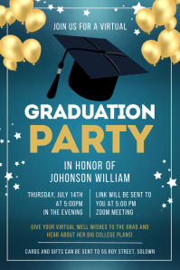 Teal and gold graduation banner template